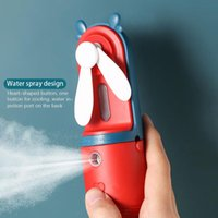 Portable 2 In 1 Mini Fan Humidifier USB Rechargeable Handheld Cartoon Water Spray Mist Air Conditioner For Outdoor Cooling Electric Fans