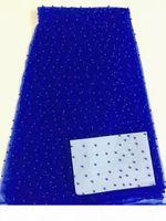 5 verges PC TOP vente Royal Blue French Net Dentelle avec perles Décoration Tissu de dentelle en treillis africain pour la tenue de soirée RN1-9