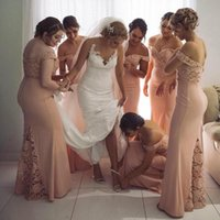 2021 Lace Mermaid Bridesmaid Dresses Blush Pink Off The Shoulder Floor Length Wedding Guest Party Gowns Country Garden Maid Of Honor Prom Dress