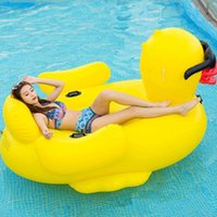 Inflatable Floating Row Bed Yellow Duck Swimming Water Ring ...