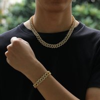 12MM Miami Cuban Link Chain Necklace Bracelets Set For Mens Bling Hip Hop iced out diamond Gold Silver rapper chains Women Jewelry Gift