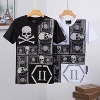 21SS 패션 디자이너 두개골 Tshirt PP 남성 T 셔츠 필립 일반 Tshirts 라운드 넥 자수 디자인 커플 티 힐즈 티 남성 탑 후드 후드
