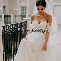 Sweetheart Off Shoulder Wedding Dress Lace 3D Flowers Bride Gowns A Line Country Boho 2021 Vintage Bridal Dresses