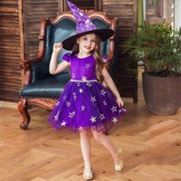 Girl's Dresses Kids Girls Dress Witch Hat Set Perform Gown Halloween Dance Party Costume Princess Children Cosplay Clothes