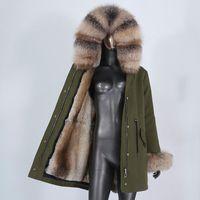 Faída de las mujeres Faux CXFS 2021 impermeable Largo Parka Chaqueta de invierno Mujer Abrigo Real Abrigo Natural Mapache Capucha Puños Streetwear