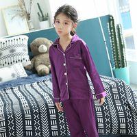Primavera Outono Crianças Cetim Pijamas Conjuntos Crianças Meninas Solid Silk Manga Longa 2 Peças Tops + Calças Sleepwear Pijama Para Criança Designer 745 v2