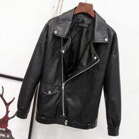 Women's Jackets [EWQ] Autumn Winter Female Turn-down Collar Long-sleeved Suit Loose Minimalist PU Leather Zipper Black Short Top Coat 8Q266