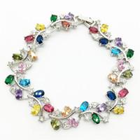 Link, Chain Fashion Flower Zircon Bracelets High Quality CZ Cubic Multicolor Zirconia For Women