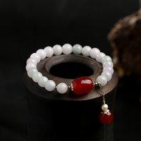 100% Naturalne Koraliki Jade Bransoletka Dla Kobiet Biżuteria Gemstone Agat Pearl 14K Tassel Wisiorek Bransoletka Handmade Strand Prezent