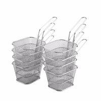 8 stücke Mini fry Körbe Edelstahl Fritteuse Basketsieer dienende Präsentation Kochen Pommes Frites Küche zu Colanders Sieb