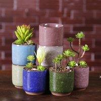 Gelo rachado mini flor cerâmica pote colorido flowerpot bonito para decoração de desktop Meaty plantas em vasos plantadores DHB6034