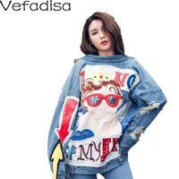 Women's Jackets Vefadisa Autumn Holes Denim Coat Print Loose Jacket Long Sleeve Single Breasted Casual 2021 QYF774