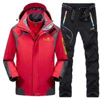 Outdoor Jackets&Hoodies 3-in-1 Set Winter Men Hiking Jacket & Pants Thermal Waterproof Windproof Coat Fishing Hunting Ski Suit Sports Tracks