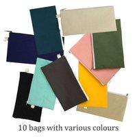 10pcs Coloful blank canvas zipper Pencil cases pen pouches cotton cosmetic Bags makeup bags Mobile phone clutch bag organizer 210903
