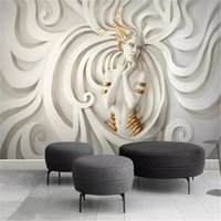 3d 캐릭터 벽지 황금 동그라미 아름다움 거실 침실 배경 벽 장식 벽화 벽지를 착용하는 양각 조각