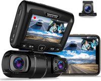 Mini Cameras 3 Channel Front Rear Cabin Car DVR Inch LCD Screen Dash Cam Video Recorder Lens Sony Sensor Infrared Night Vision WiFi ADAS
