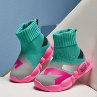 Boots 2021 Autumn Girls Sock Stretch Ankle Slip On High Top Sneakers Children's Sports Shoes Boys Kids Slip-on