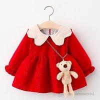 赤ちゃんの女の子のクリスマスパーティードレス幼児子供のコントラストカラー花びらラペルプリンセスドレス子供allbalaスリーブプリーツ服q2294
