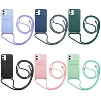 Phone Cases for iphone 11 12 Pro Max case XR XS 7 8 plus 6 liquid state Silicone Shockproof phone-protective Cover shell with card pocket and rope