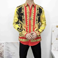 2021 designer de moda slim camisa para homens 3d medusas preto ouro impressão floral vestido de manga longa negócio casual