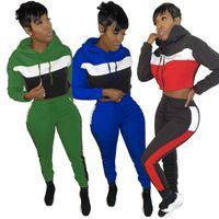 Sweatpant Kulübü Kıyafet Eşofman Patchwork Rahat Kapüşonlu İki Parçalı Set Kadın Uzun Kollu Sportif Loungewear Hoody ve Artı Boyutu S-2XL
