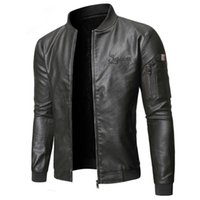 Negizber zipper pu homens jaqueta de couro casual cor sólida moda x0721