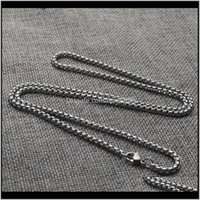 & Pendants Drop Delivery 2021 2 2Dot5 3 3Dot5 4 4Dot5 5Mm Stainless Steel Square Pearl Chains For Pendant Necklaces Mens Party Jewelry Lz863