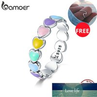 BAMOER Authentic 925 Sterling Silver Stackable Rainbow Heart Finger Rings for Women Wedding Engagement Ring Jewelry Anel SCR444 Factory price expert design