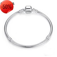 Mode Armband Fit Perle 925 Sterling Silber gefüllt Schlangenkette Bangle Luxus Schmuck 16-23cm Frauen Geschenk