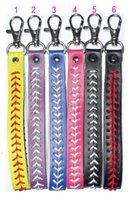 baseball leather keychain Party Favor fastpitch softball accessories baseballs seam key ring OWA7225