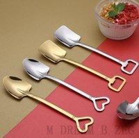 Stainless Steel Shovel Shape Stirring Spoon Coffee Ice Cream Scoop Heart Handle Spoons