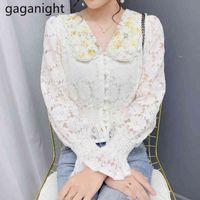 Women Lace Blouse Elegant Peter pan Collar Flare Long Sleeve White Shirts Flower Hollow Fashion Female Blouses Tops 210426