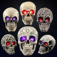 Horror Halloween Props Résine Crâche Human Skull Skeleton Bar Club Ornements Housseen Fournitures de fête Festival Decoration Cadeaux G0910