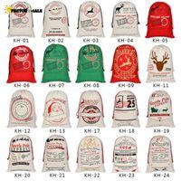 Tuval Noel Santas Çanta Büyük İpli Şeker Baba Çanta Noel Hediyesi Noel Baba Festivali Dekorasyon için Çantalar FS22