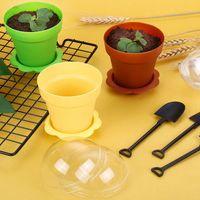Blumentopf-Kuchen-Tassen mit Löffel-Deckel Eisdoors für Hochzeit Kinder-Geburtstags-Partybedarf Backen-Teig-Werkzeuge