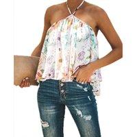 Camisetas para mujer con estampado floral V Halter sin mangas Halter Sexy Tops Ropa plisada sin respaldo Ladies sueltas Blusas de mujer