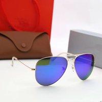 디자이너 브랜드 새로운 클래식 파일럿 선글라스 패션 망 여성 태양 안경 UV400 골드 프레임 녹색 거울 58mm 렌즈 상자
