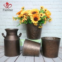 Fletiter 빈티지 금속 아연 도금 된 꽃 꽃병 농가 프랑스 양동이 화분 3 테이블 중심의 소박한 가정 장식 꽃병의 집합