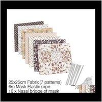 E têxteis em casa gardendiy máscaras caseiro materiais de poeira impresso tecido para costurar com faixa elástica de ouvido corda diy kit gga3382-4