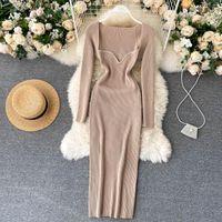 Kleider für Frauen 2021 Sexy trägerlose gerippte Gestricke Bodycon-Kleid Winter Langarm Midi Pullover Kleidung Casual