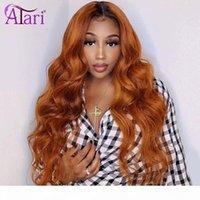 1B Orange Ginge Transparent Lace Frontal Wigs Body Wave Brazilian Virgin Human Hair Wigs 180% Density Lace Front Atari hair