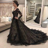 Черные свадебные платья для невесты свадебные платья 2021 с длинным рукавом V шеи с бензорвенным поездом кружевной иллюзия лифа сад страны капельница готический реальный образ