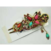 Hair Accessories SODIAL(R) Lovely Vintage Crystal Butterfly Pins Stick For Clip Beauty Tools - Colorful