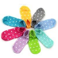 2021 Brand New Women Socks Heart Dot Solid Cute Socks Short Woman Slippers Cotton Blends Low Cut Ankle Boat Socks Summer