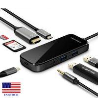 6/8 in1 USB-C محور الإرساء محطة متعددة USB 3.0 سبليت HDMI محول قفص الاتهام C0029 US