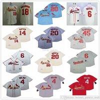 Мужские бейсбольные майки 4 Ядр Молина 18 Карлос Мартинес 20 Лу Брок 6 Стэн Музье 45 Bob Gibson 14 Кен Бойер Сшитые рубашки Бейсбол Высокое качество