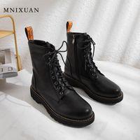 MNIXUAN Kadın Ayakkabı 2020 Gotik Çizmeler Bayan Ayak Bileği Çizmeler Siyah Platformu Kış Kısa Peluş Lace Up Siyah Patik Boyutu 1013