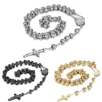 Men's Women's Stainless Steel Pendant Necklace Christ Jesus Crucifix Cross Rosary Beads Ball Chain