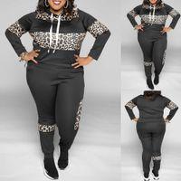 Sale Plus Size 2 Piece Set For Women Clothing Set Fall Large Size Ladies Outfits Leopard Print Tracksuit Suit Female Clothes D30