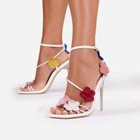 Dress Shoes 2021 Design Donne Sandali Donne Dembellato Farfalla Fiori Pompe Dettaglio Dettaglio Lace Up 12cm Tacchi alti in pelle Signore